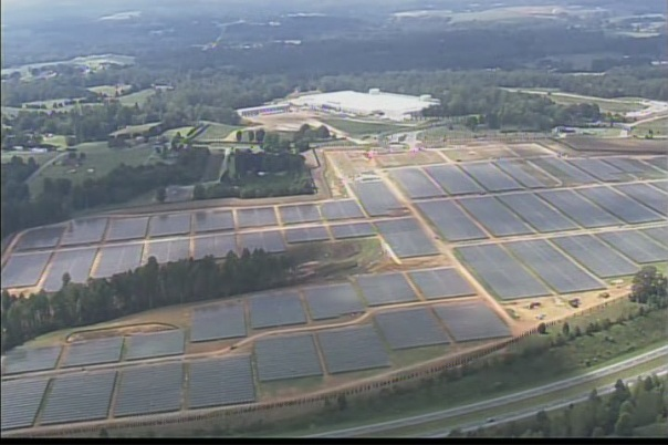 Apple has installed several solar parks to provide power for its operations, like this one alongside the data center in North Carolina