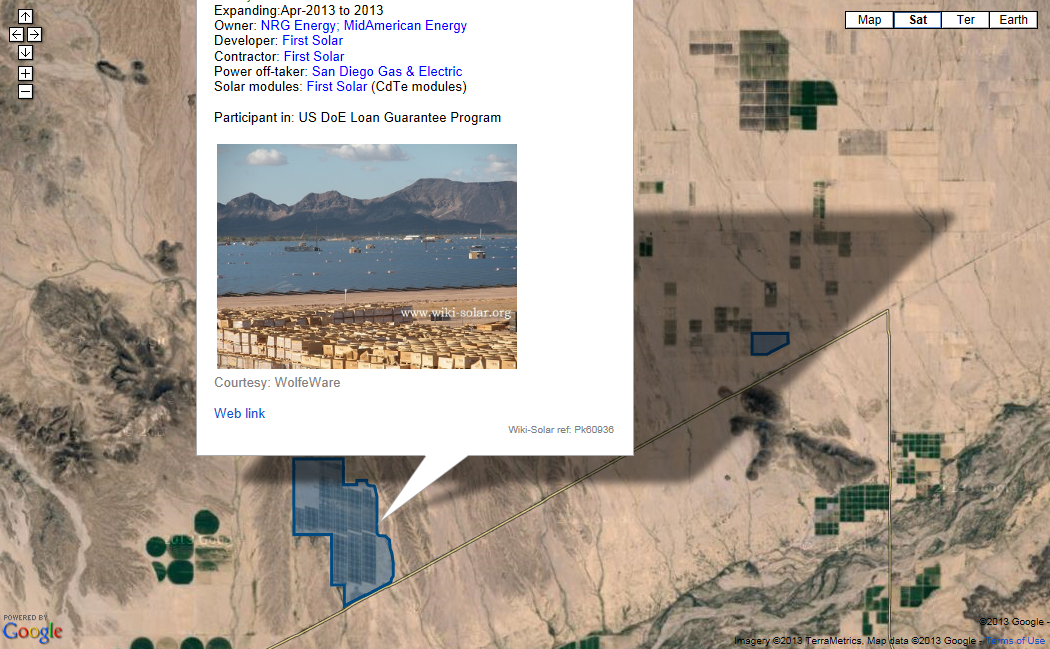 Agua Caliente Solar Project - click for site map with menu of other sites