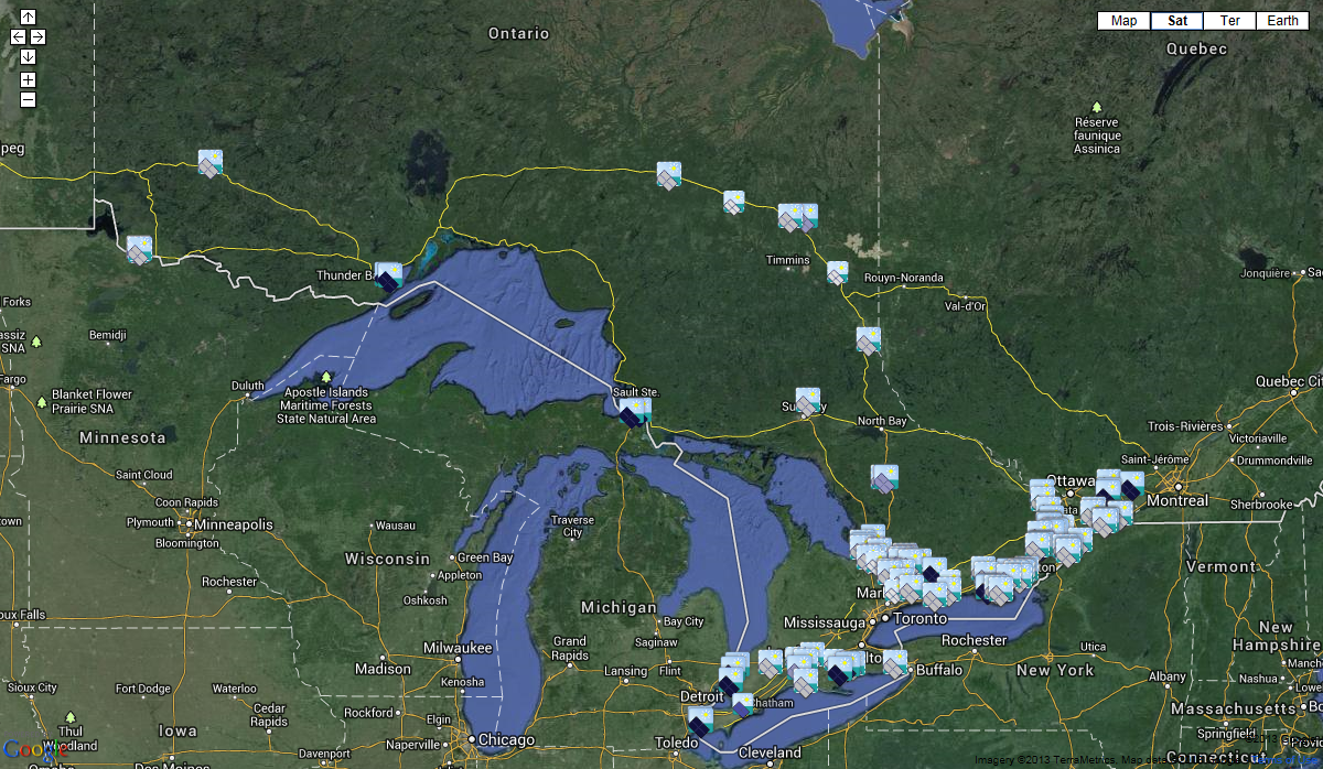 Wiki-Solar map of utility-scale solar projects in Ontario, Canada