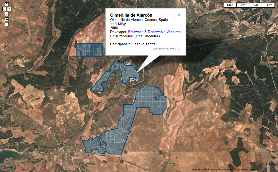 A sample map of solar project sites in Spain - click to go to site maps